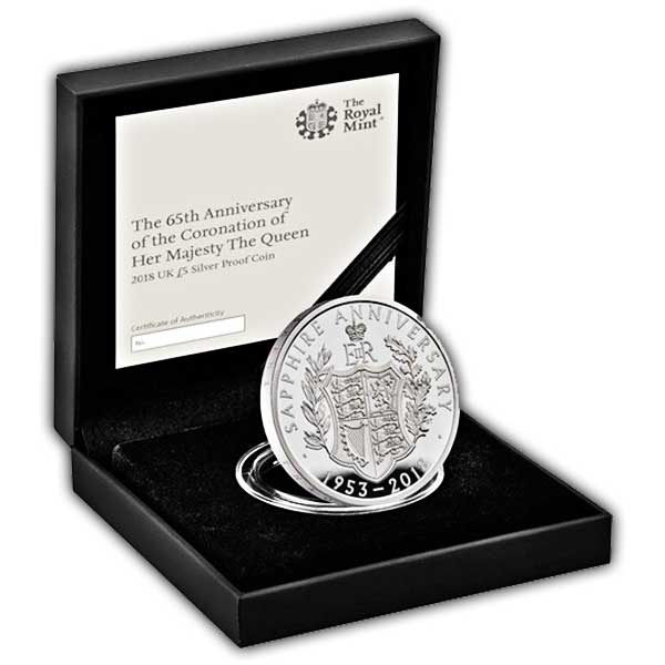 Sapphire Coronation 2018 UK £5 Silver Proof Coin