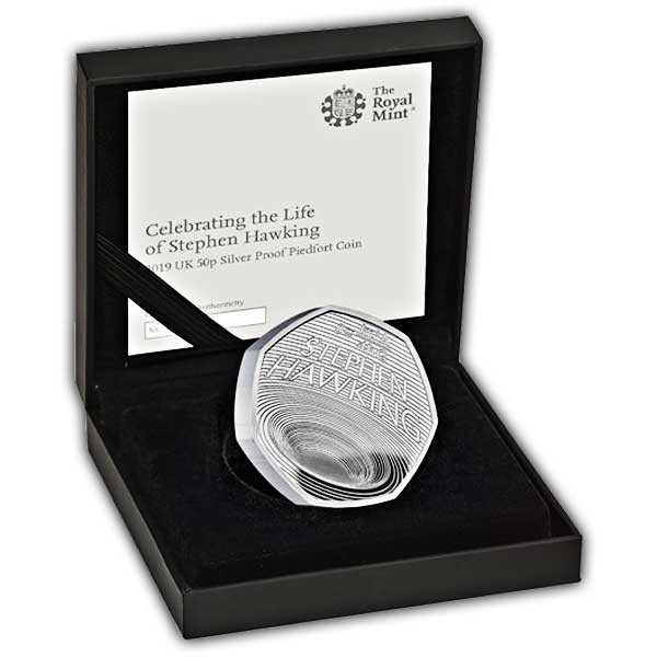 Celebrating the Life of Stephen Hawking 2019 UK 50p Silver Proof Piedfort Coin