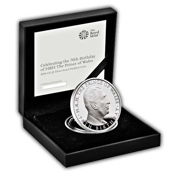 The 70th Birthday of HRH the Prince of Wales 2018 UK £5 Silver Proof Piedfort Coin