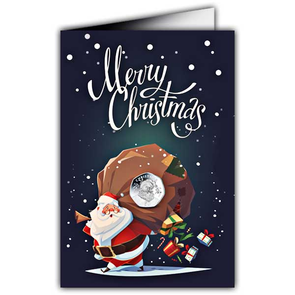 The Festive Santa Gibraltar 2017 50p Cupro Nickel Coin in a card