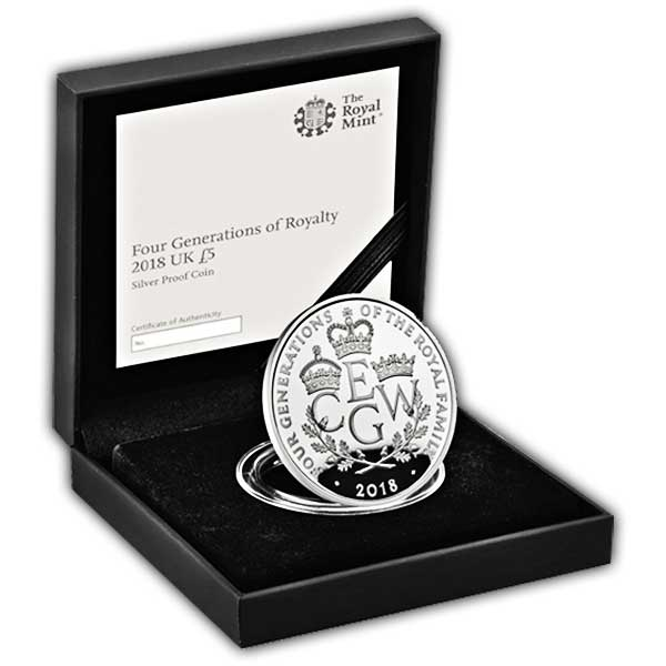 The Four Generations of Royalty 2018 UK £5 Silver Proof Coin