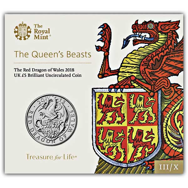 The Queen's Beasts The Red Dragon of Wales 2018 UK £5 BU