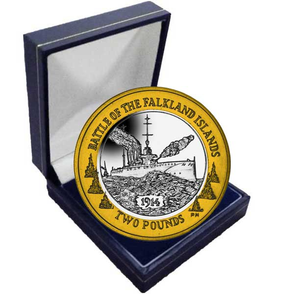 The 2014 Centenary of the Battle of Falkland £2 Bi-Metal Coin in a box