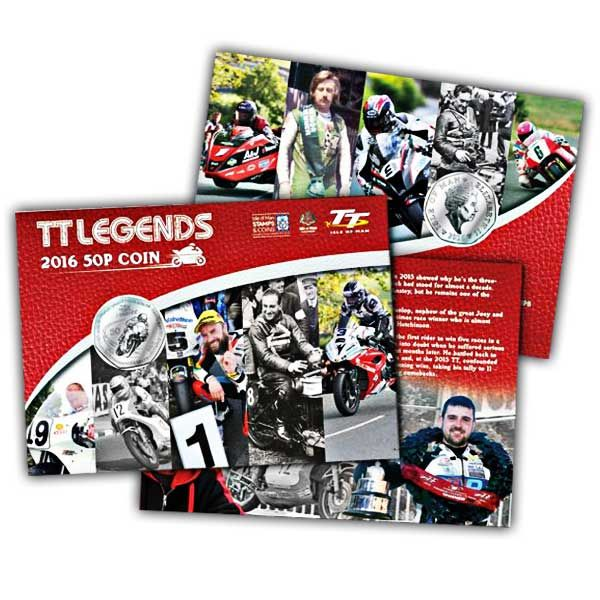 The 2016 TT Race Legends 50p Cupro Nickel Coin on a card