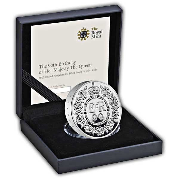 The Queens 90th Birthday 2016 UK £5 Silver Proof Piedfort Coin