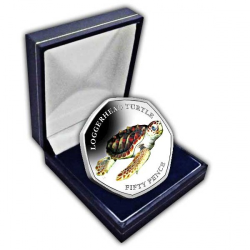 The Loggerhead Turtle 2019 50p Cupro Nickel Coloured Coin