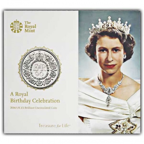 The Queens 90th Birthday 2016 UK £5 BU Coin
